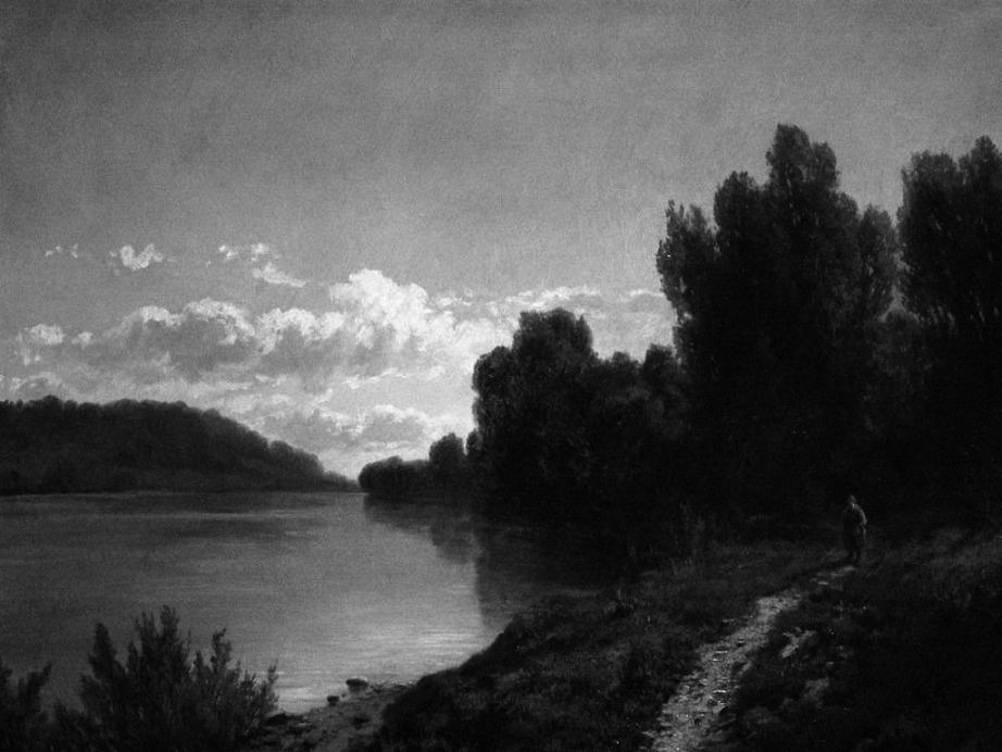 Allason Ernesto - Paesaggio lacustre. Olio su tela, 96 x 72 cm.
