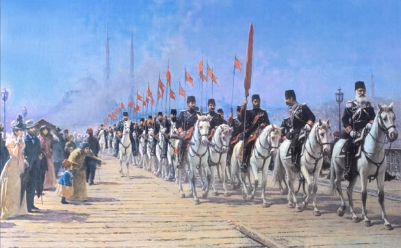 Fausto Zonaro - Il reggimento imperiale di Ertugrul sul ponte di Galata