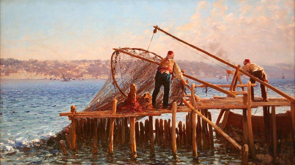 Fausto Zonaro Pescatori catturano pesce