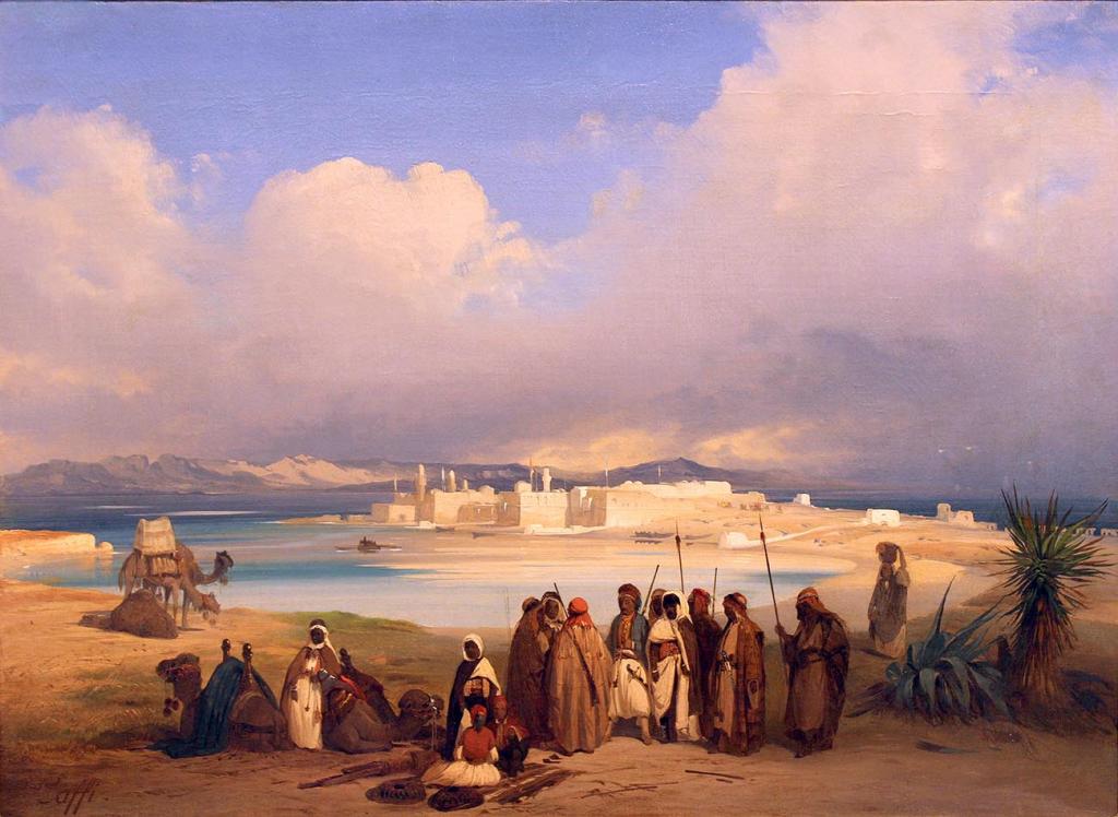 Ippolito Caffi - Egitto e l'Istmo di Suez pittore di bellissime scene solari dove il cielo si illumina con effetti speciali in un contesto naturale. Persone che riposo vicino al mare. Tecnica: olio su tela, 43 x 58 cm