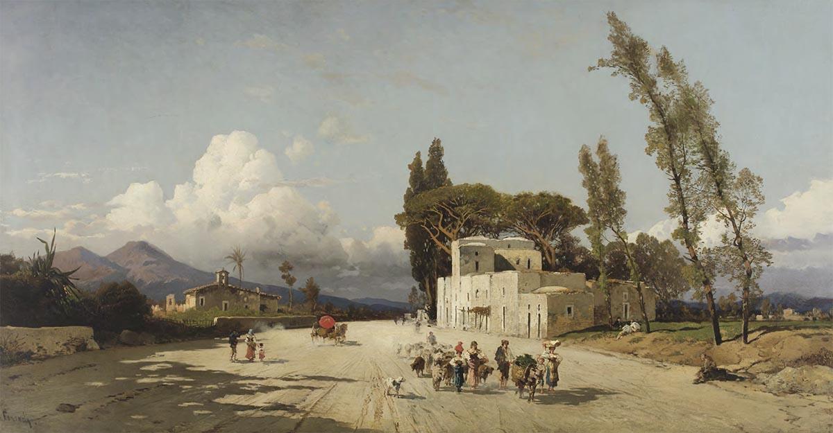 Strada di paese con Vesuvio sullo sfondo