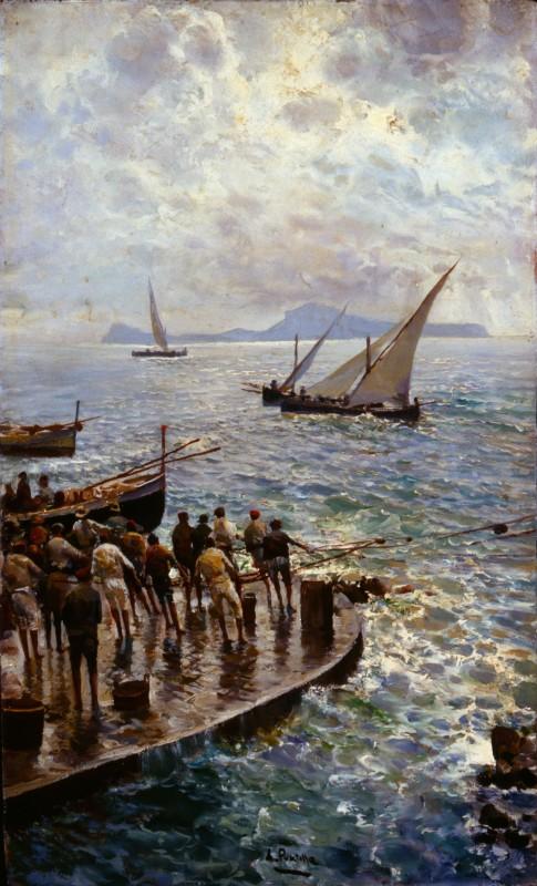 Attilio Pratella Pescatori sul molo