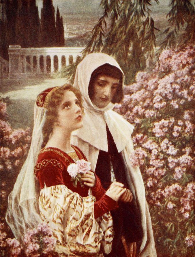 Cesare Saccaggi Dante e Beatrice in giardino