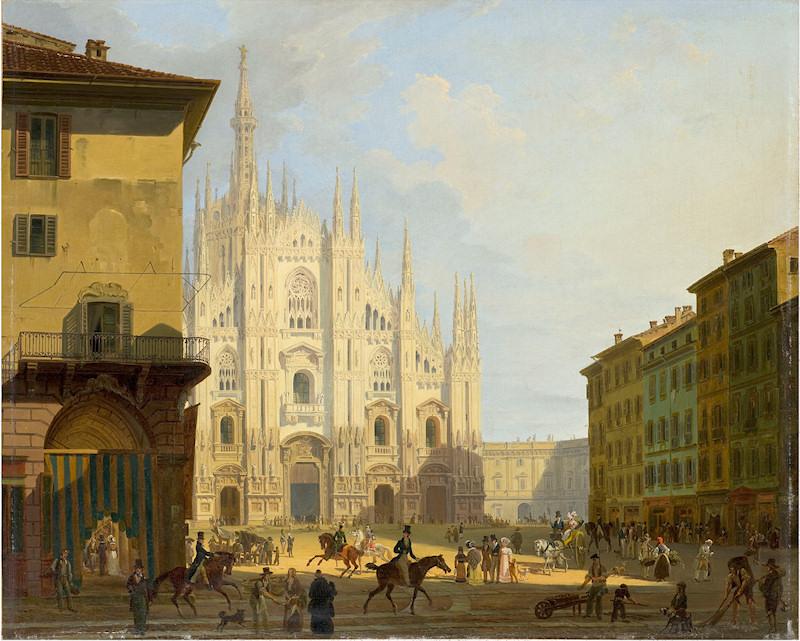 Veduta di piazza del Duomo in Milano, 1828