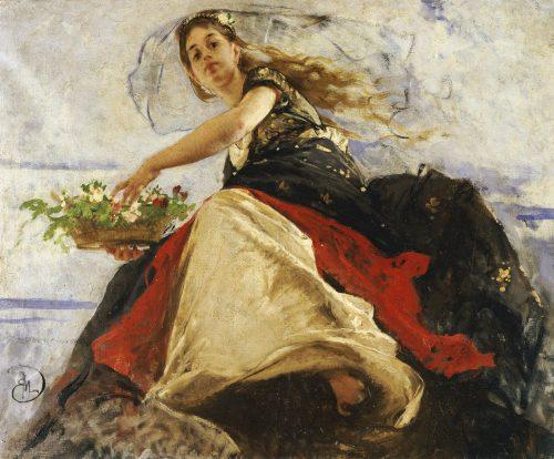 Flora. Mose Bianchi (1840-1904). Olio su Tela