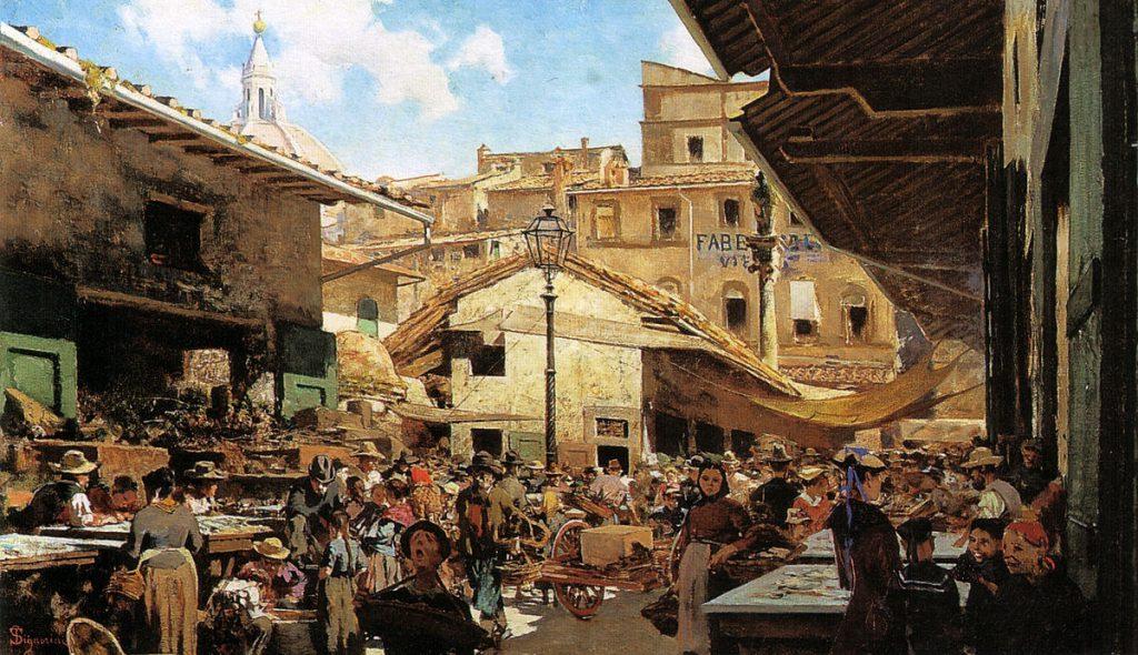 Telemaco Signorini Mercato Vecchio a Firenze 1882