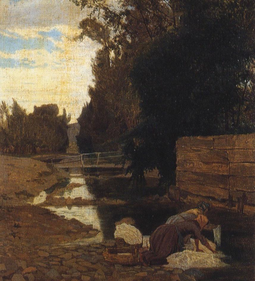 Lavandaie a Carcare, dipinto su tela del 1866 di Ernesto Rayper.