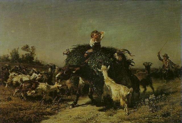 Filippo Palizzi Carro con fieno e capre 1857
