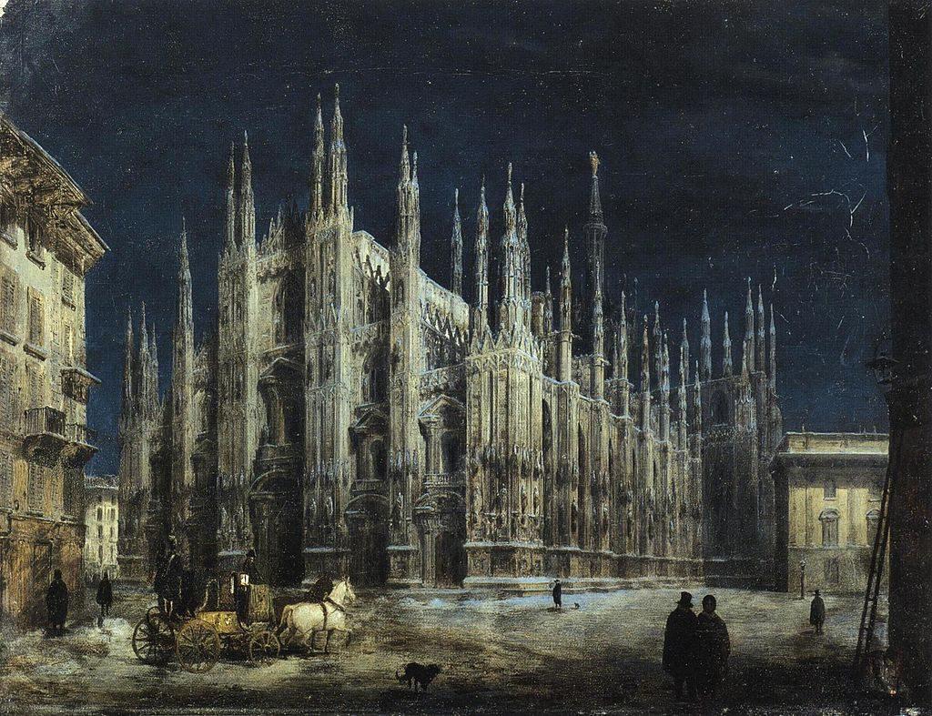 Angelo Inganni Notturno di Piazza del Duomo a Milano