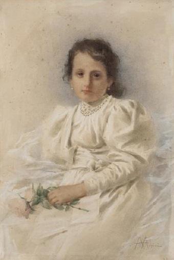 Angiolo Achini - Fanciulla con rose in mano