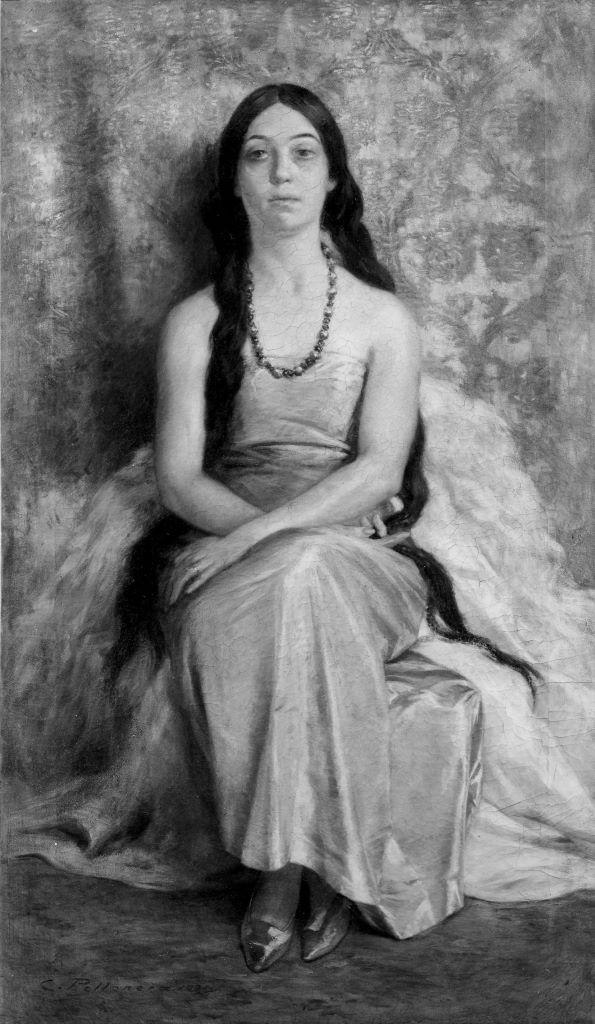 Carlo Pollonera Ritratto della moglie in abito verde