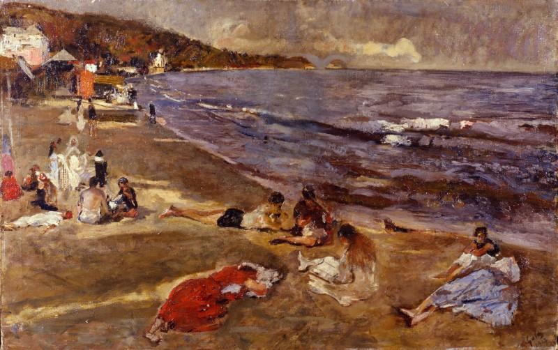 Emilio Gola Sulla spiaggia di Alassio
