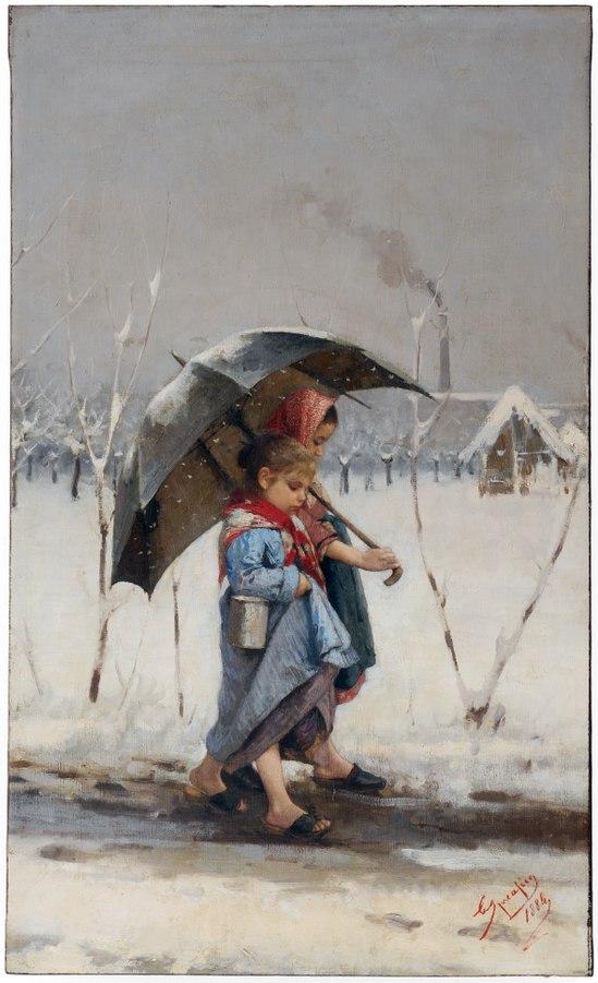 Eugenio Spreafico Bambini sotto l'ombrello