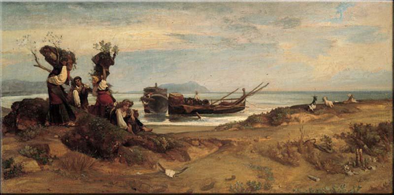 Giovanni Costa Donne che imbarcano legna a Porto d'Anzio