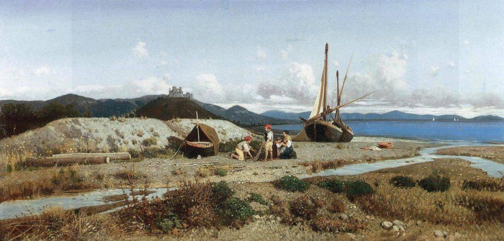 Giuseppe Laezza Famiglia di pescatori nel paesaggio costiero