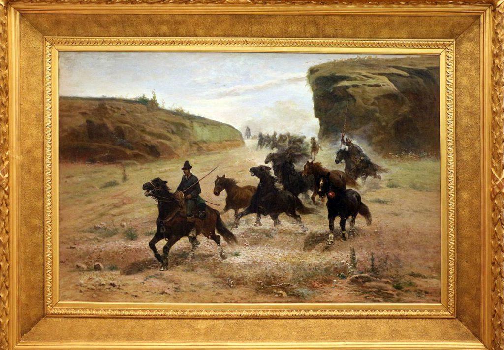 Giuseppe Raggio Cappata di cavalli nella campagna romana 1892