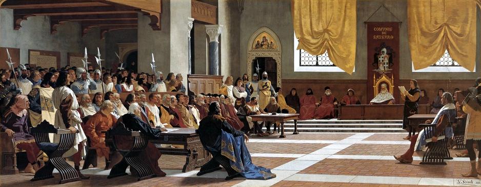 Giuseppe Sciuti Proclamazione della Repubblica sassarese 1880 Sassari Palazzo della Provincia