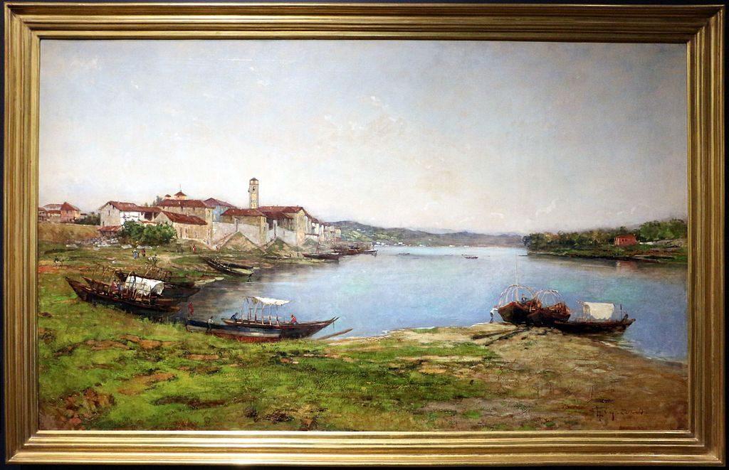 Lorenzo Gignous veduta del lago maggiore presso sesto calende 1895 1900