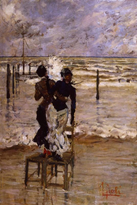 Luigi Gioli Signore in riva al mare