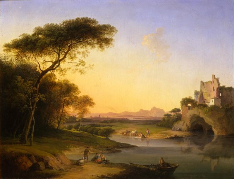 Marco Gozzi Paesaggio con figure in riva al fiume Adda