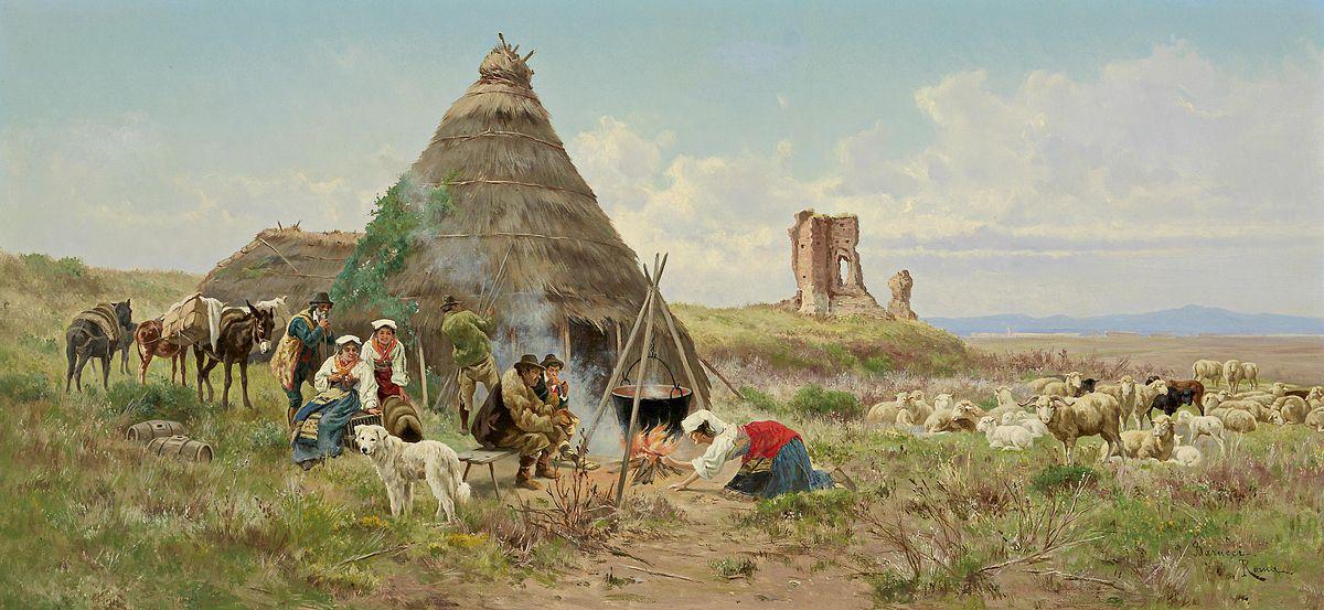 Pietro Barucci Riposo dei pastori nella campagna romana