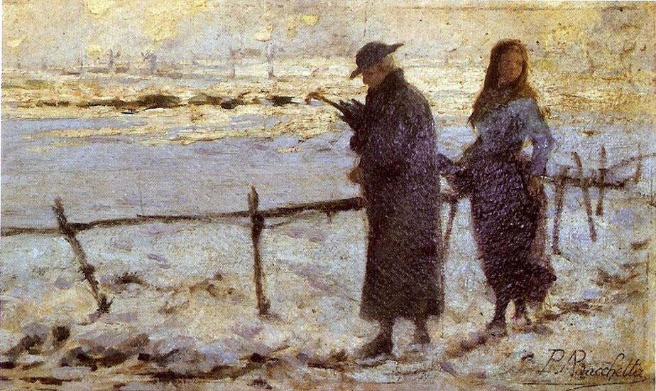 Angelo Bacchetta Paesaggio invernale con figure