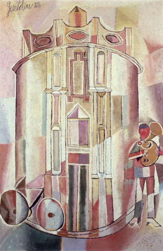 Franco Gentilini Cattedrale con suonatore di tromba