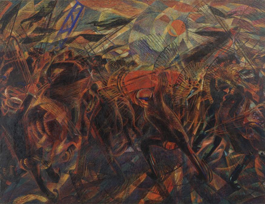 Carlo Carrà Il Funerale dell'Anarchico Galli Anno:1910–1911 Oilo su tela Dimensioni: 198.7 cm. × 259.1 cm.