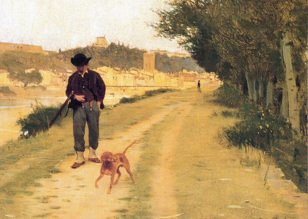 Raffaello Sorbi Cacciatore lungo le rive dell'Arno a Firenze