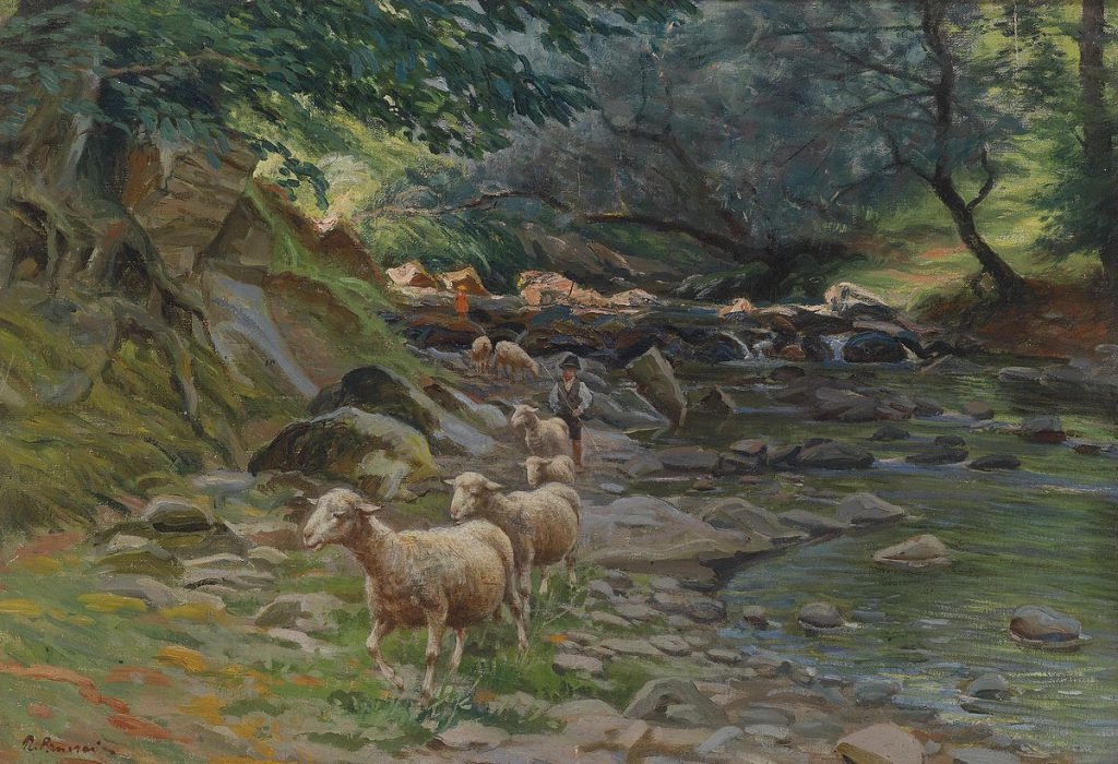 Ruggero Panerai Gregge di pecore e piccoli pastori sulla riva del fiume