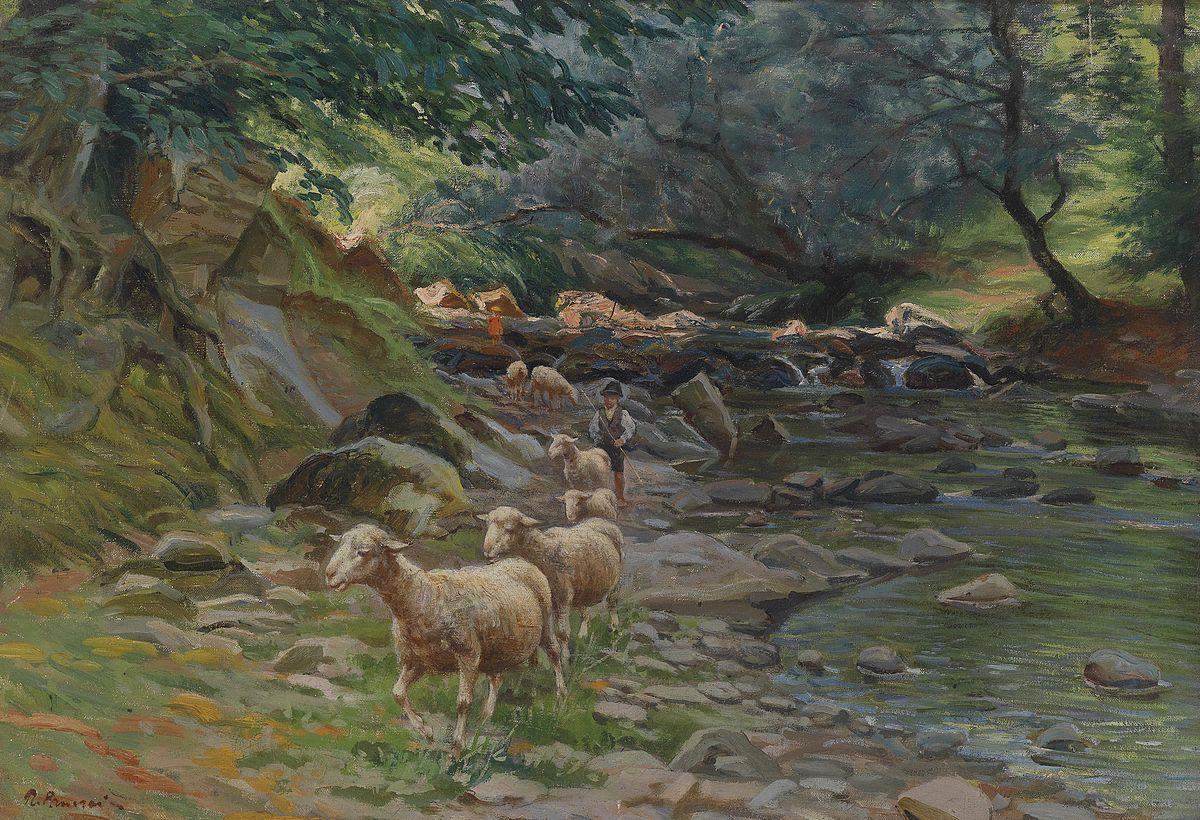 Ruggero PaneraiGregge di pecore e piccoli pastori sulla riva del fiume