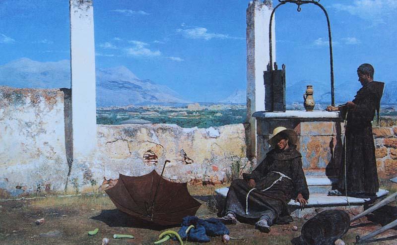 Due frati cappuccini vicini al pozzo d'acqua del convento palermitano di Santa Maria di Gesù.