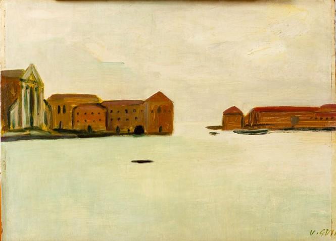 """Virgilio Guidi - """"Marina"""", olio su tavola"""