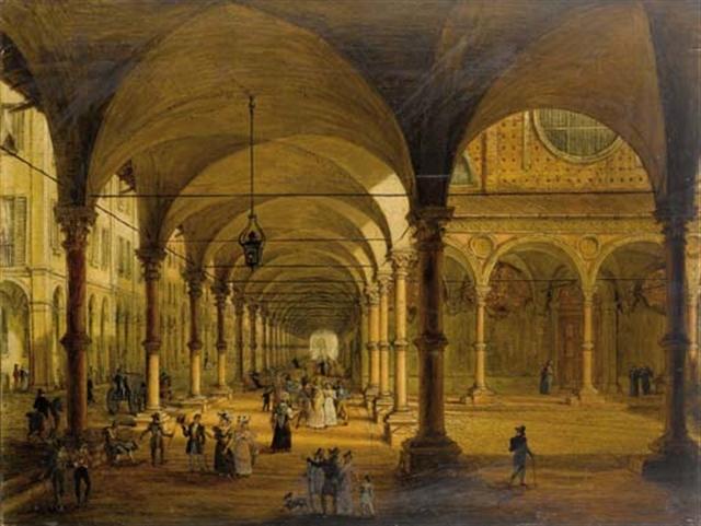 Antonio Basoli Veduta del portico di Santa Maria dei Servi