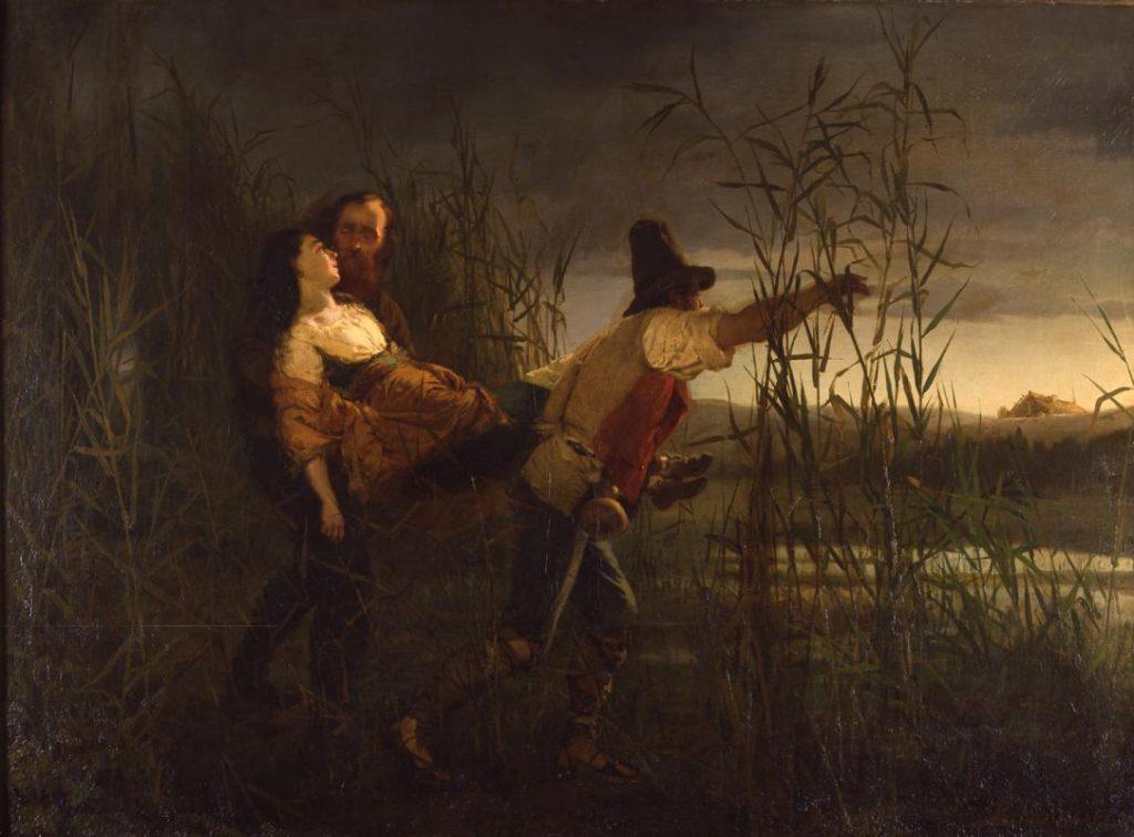 Pietro Bouvier Garibaldi e il maggiore Leggiero trasportano Anita morente, 1864 olio su tela