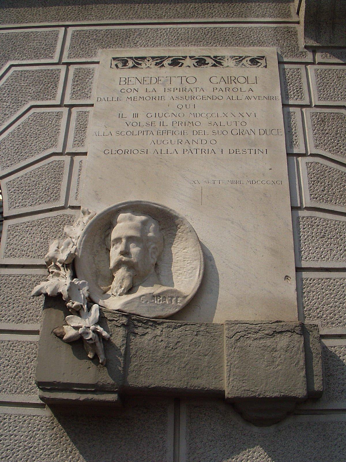 Carlo Abate Lapide Benedetto Cairoli 1891 Piazza Garbaldi