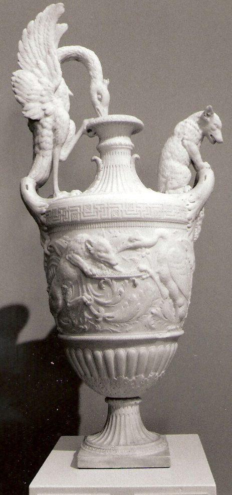 Antonio Isopi Vaso decorativo con volpe e cicogna