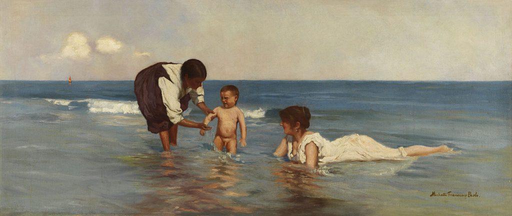 Francesco Paolo Michetti - Annunziata Michetti con il figlio Giorgio e la tata, 50.5 × 118 cm, 1890 circa.