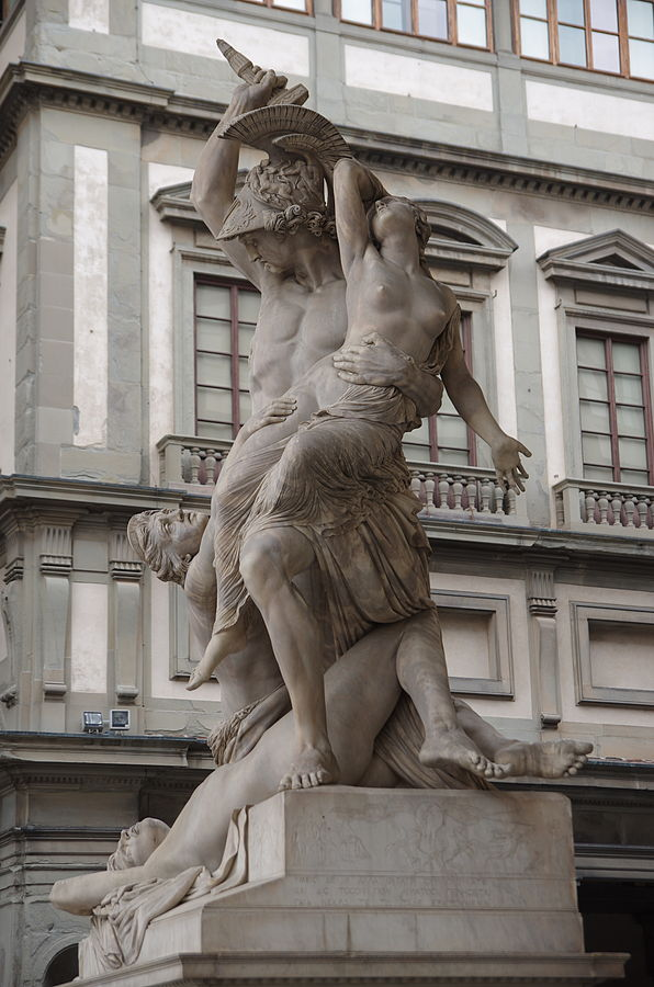 Pio Fedi  - Neottolemo rapisce Polissena da Ecuba 1855 Piazza della Signoria Loggia dei Lanzi Galleria degli Uffizi Giorgio Vasari Firenze