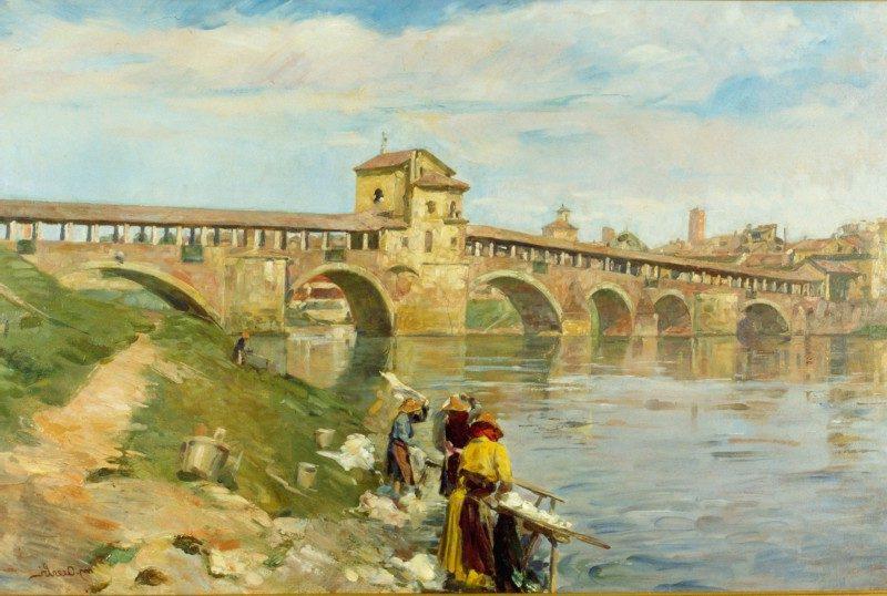 Mario Acerbi - Il Ponte Vecchio con lavandaie