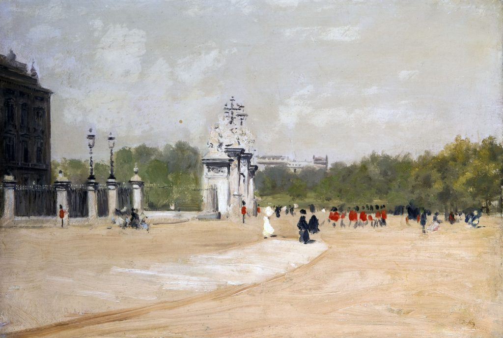 Giuseppe De Nittis, Buckingham Palace, olio su tela, 39 x 56 cm.