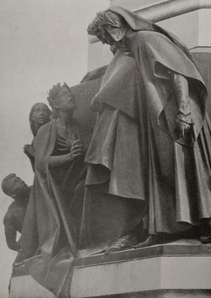 Cesare Zocchi Monumento a Dante particolare con Sordello in Bronzo