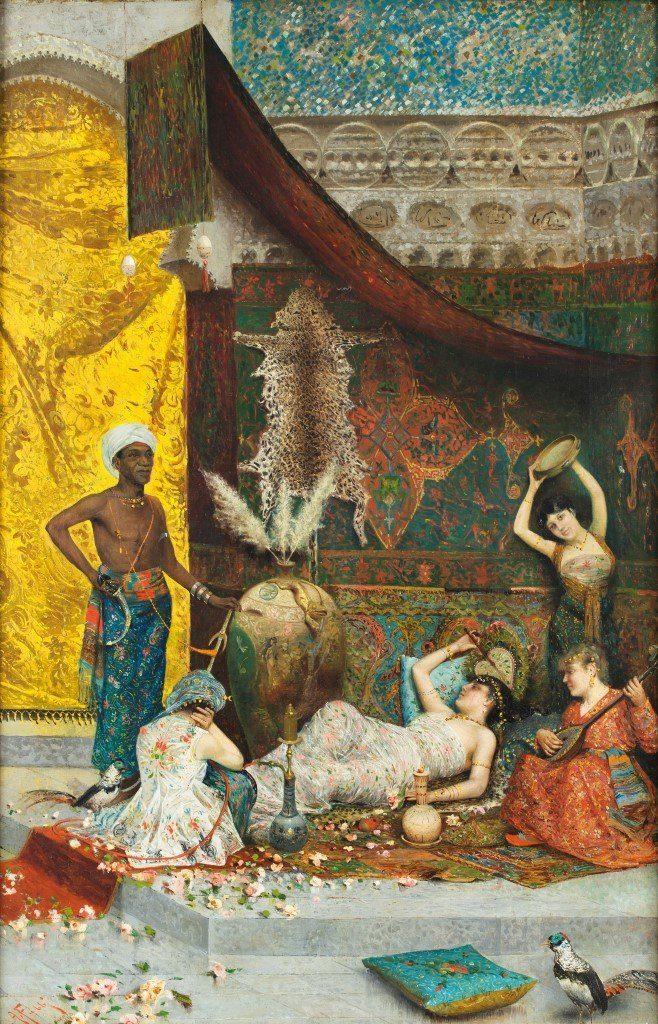 Il dipinto ad olio su tela raffigura un harem con quattro donne che si rilassano e suonano strumenti musicali, e un servo maschio, il tutto incastonato in pareti riccamente decorate con fiori, tappeti e uccelli. Il dipinto è firmato in basso a sinistra 'A. Fabbi 'e situato a Firenze.