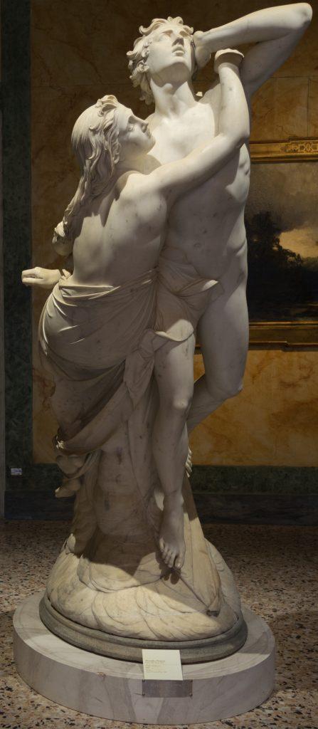 Paolo e Francesca in una grande e stupenda scultura in marmo di Alessandro Puttinati, in cui il solito rigore neoclassico di questo allievo di Bertel Thorvaldsen si assottiglia per dar vita ad un'opera in grado di suscitare un'intensa emozione estetica.