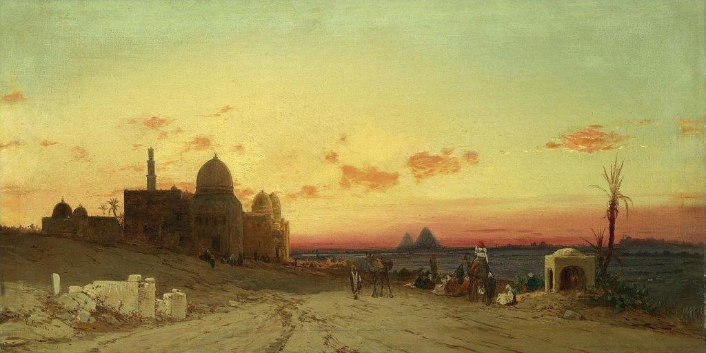 Hermann Corrodi Una vista della tomba dei califfi con le piramidi di Giza al di là