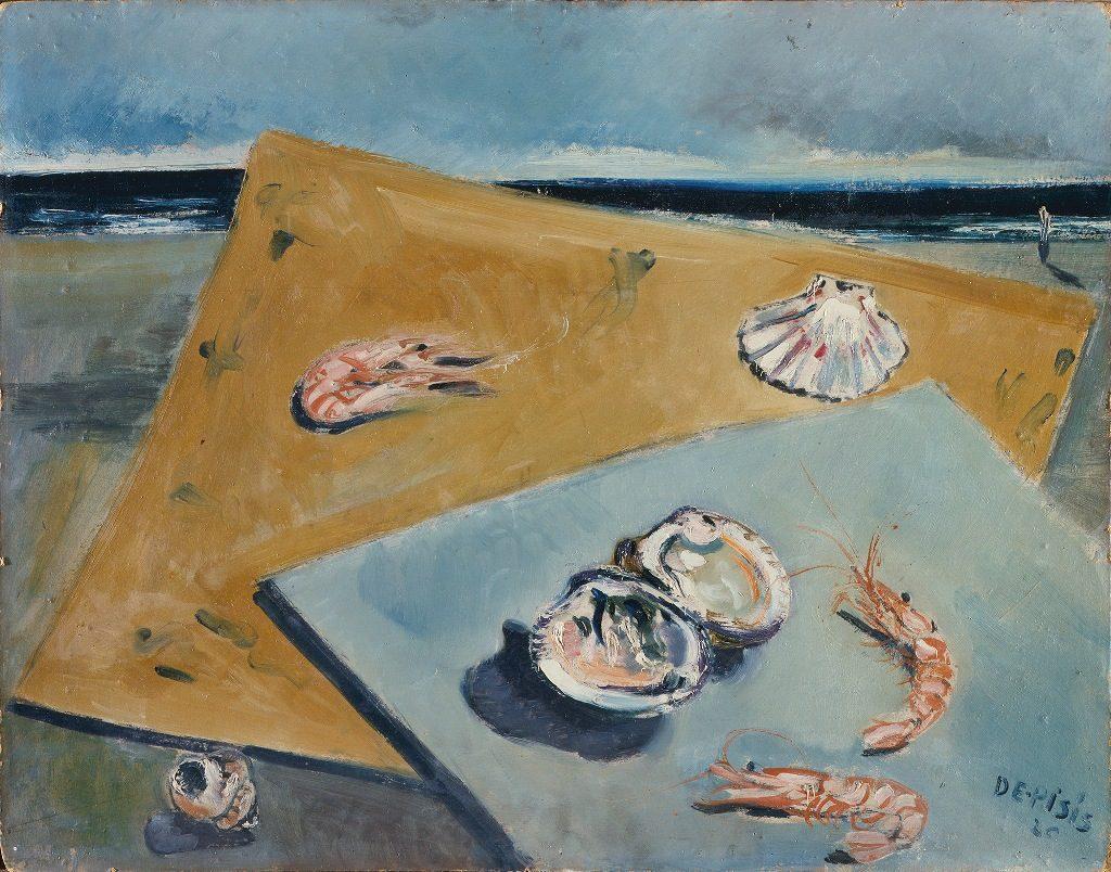 Filippo De Pisis Natura morta marina con scampi