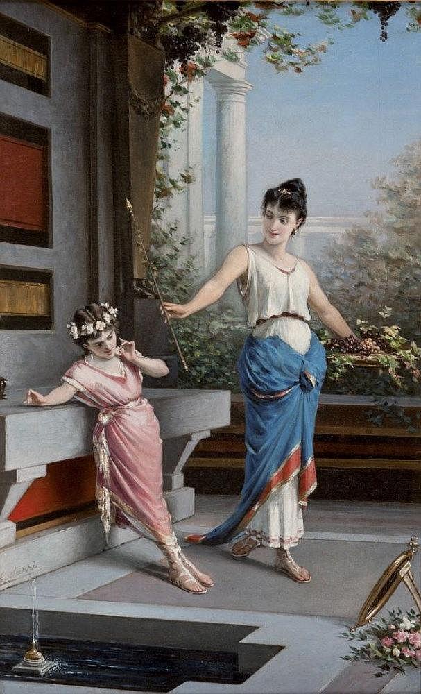 Egisto Sarri Interno pompeiano con figure
