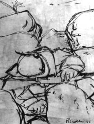 Renato Birolli Riposo del partigiano tra le rocce