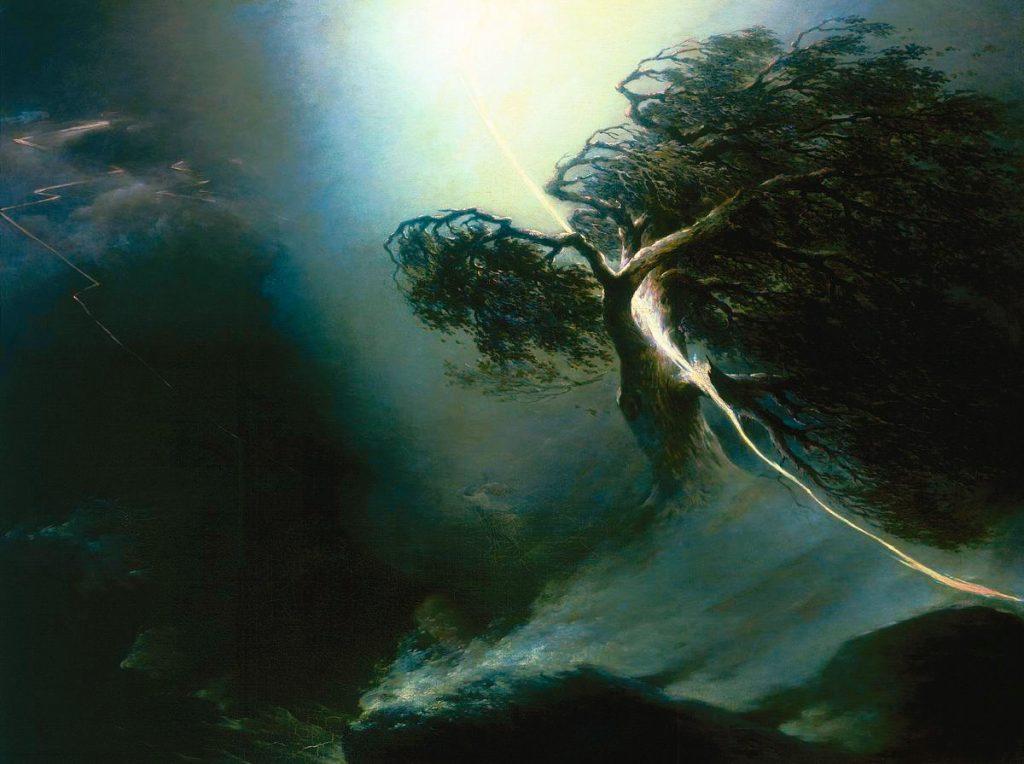 Maxim Vorobiev - Quercia, schiacciata da un fulmine. Allegoria della morte della moglie dell'artista. 1842