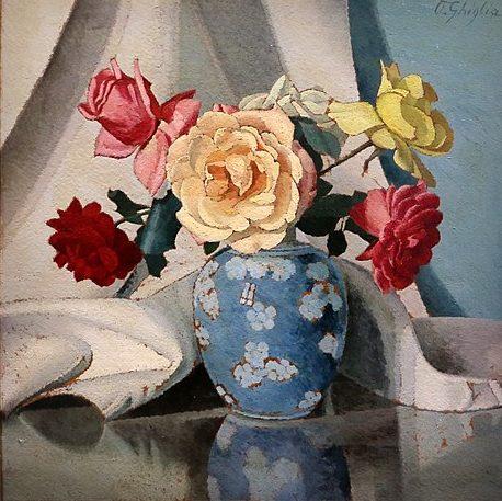 Oscar Ghiglia vaso con rose 1920
